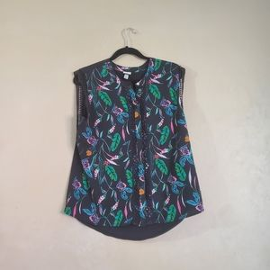 A New Day Black Tropical Tank Top Large